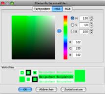 Eine Farbe aus dem Farbspektrum wählen oder direkt Werte für Rot, Grün und Blau oder Werte für Helligkeit (Brightness), Sättigung (Saturation) und Farbton (Hue) eingeben