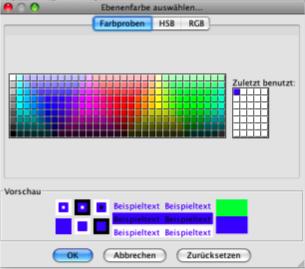 Links aus den farbigen Feldern können bereits definierte Farbwerte gewählt werden. Rechts daneben werden in diesen Feldern die Farben abgelegt, die zuletzt gewählt wurden. Sie bleiben solange der Editor geöffnet ist anwählbar. Danach werden die Farbfelder zurückgesetzt.